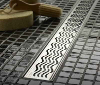 Linear Shower Drains with Feet Wavy Grate Design - 34.9 Inch