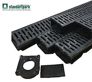 Outside drainage channel  Standartpark - trench drainage system 4 inch with 5 PACK