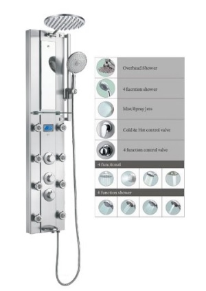 Blue Ocean 52 Inch SPV962332 Thermostatic Stainless Steel Panel Shower with Rainfall Shower-Head, 8 Adaptable Body Massage Nozzles And Spout - FREE SHIPPING